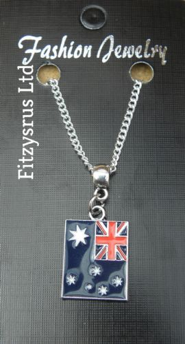 "18"" or 24  Inch Chain Necklace & Australia Flag Pendant / Charm  Australian Gift"